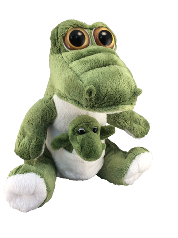 Cartoon plush gator with baby in pouch