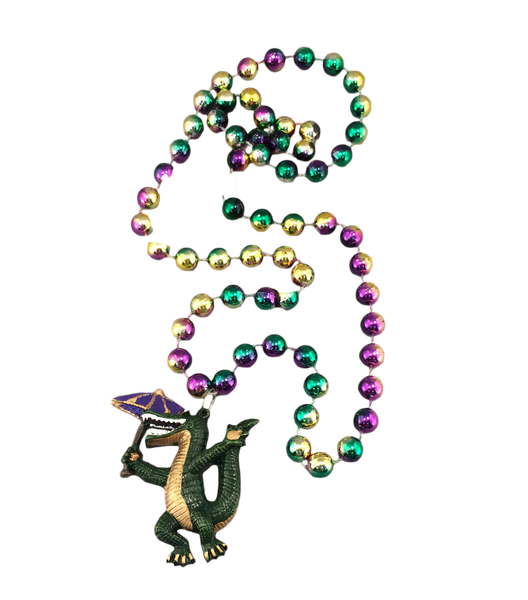 Second line gator Mardi Gras Beads