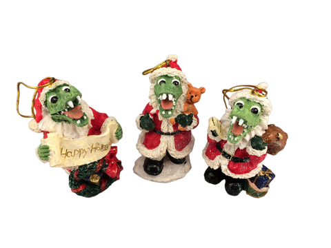 santa alligator ornament set