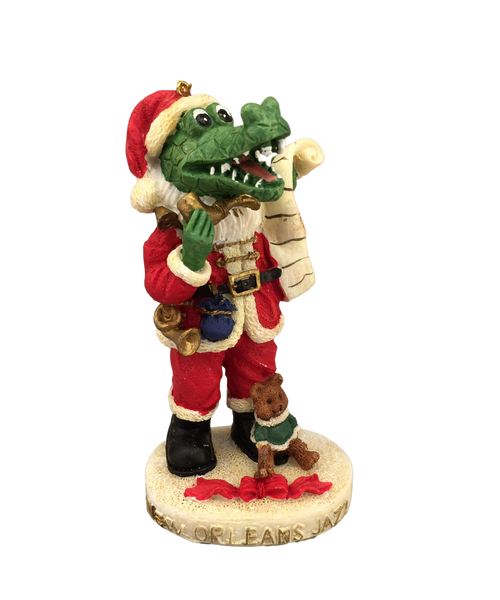 skinny santa alligator ornament