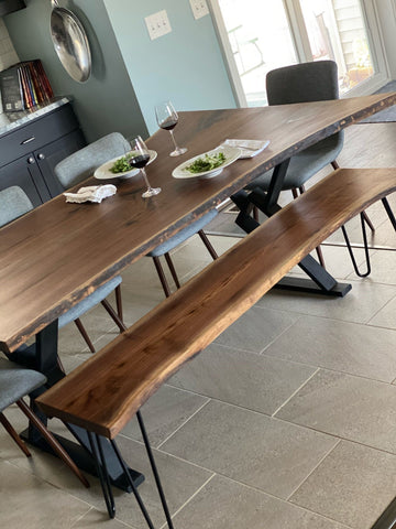 Live Edge Walnut Dining Table With Bench