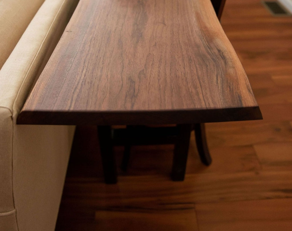 Live Edge Sofa Table, Behind The Couch Slab Table - Walnut - Brick Mill Furniture