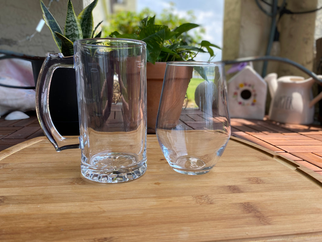 Beer Glass and Stemless Wine Glass Set