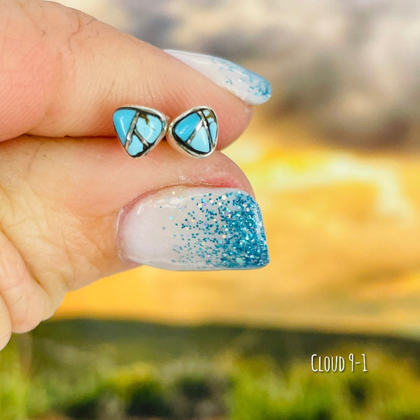 Ukiyo: Living in the Moment {small turquoise triangle earrings}