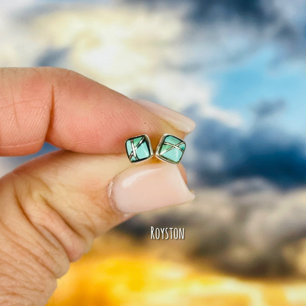 Rêveuse: Dreamer {small turquoise square stud earrings}