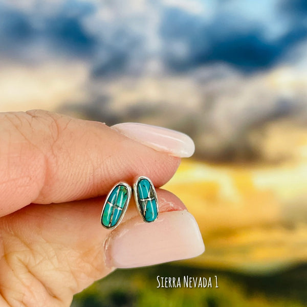 Eunioa: {rectangle turquoise stud earrings}