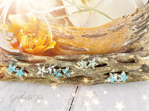 étoiles {small turquoise star earrings}