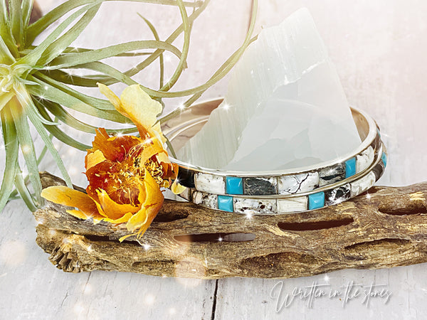 Turquoise & White Buffalo Bangle Bracelet