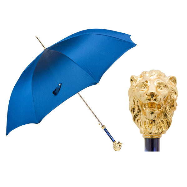 Blue Umbrella with Gold Lion Handle