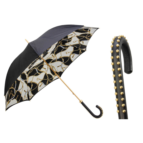 Black Umbrella with Bridles Print, Double Cloth