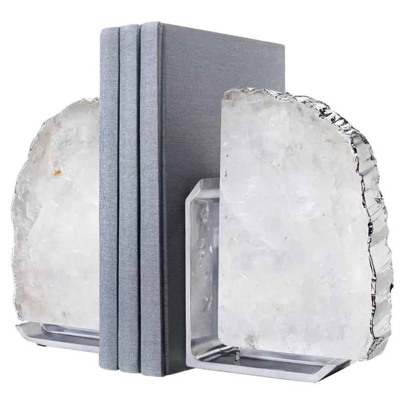 Set of 2 Crystal & Silver Fim Bookends