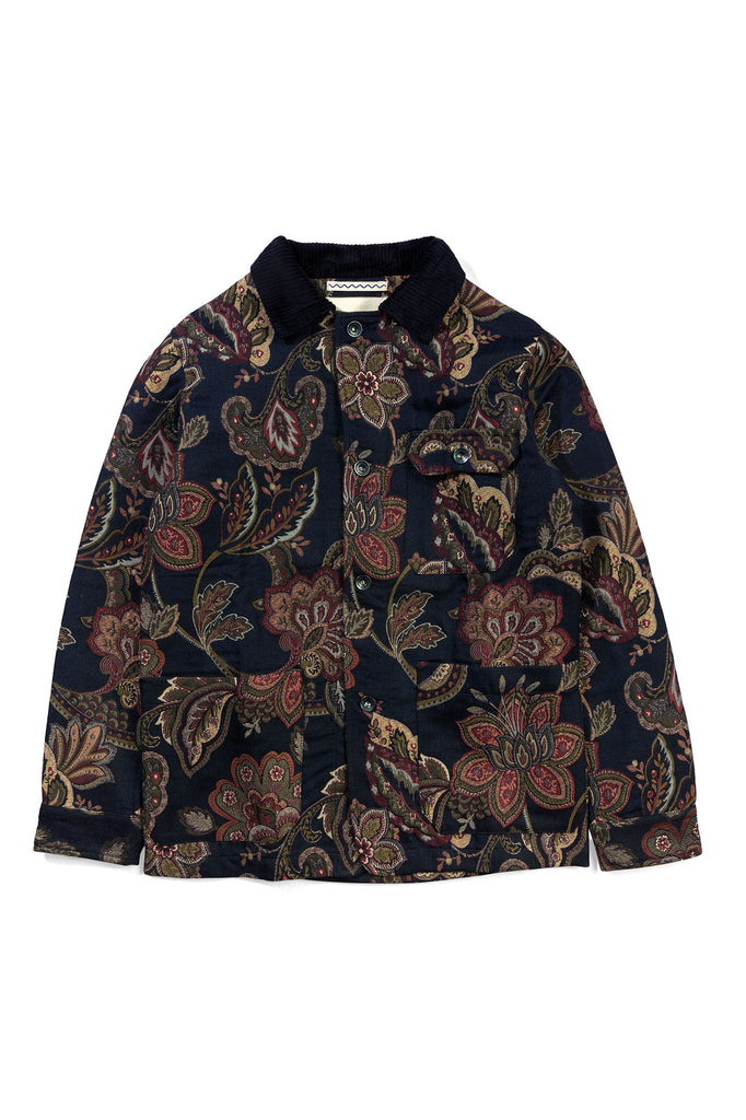Orchid Jacquard Workmen Jacket - Navy Floral - Native North Scandinavian Design Clothing
