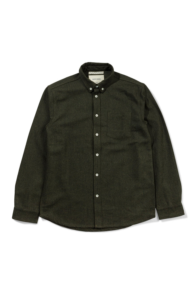 Wool Herringbone Shirt - Green - Native North
