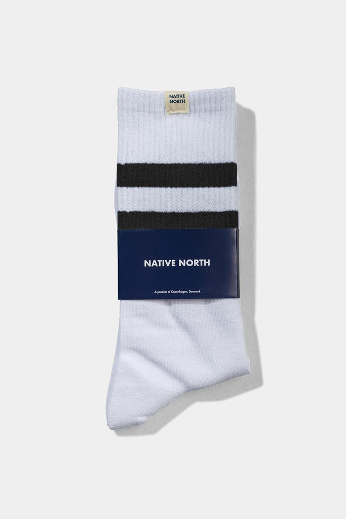 Striped Socks White/Dusty Blue - Native North Scandinavian Design Clothing