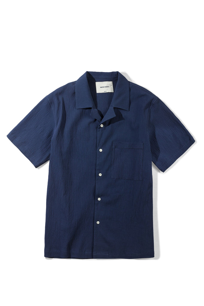 Seersucker Short Sleeve - Navy - Native North