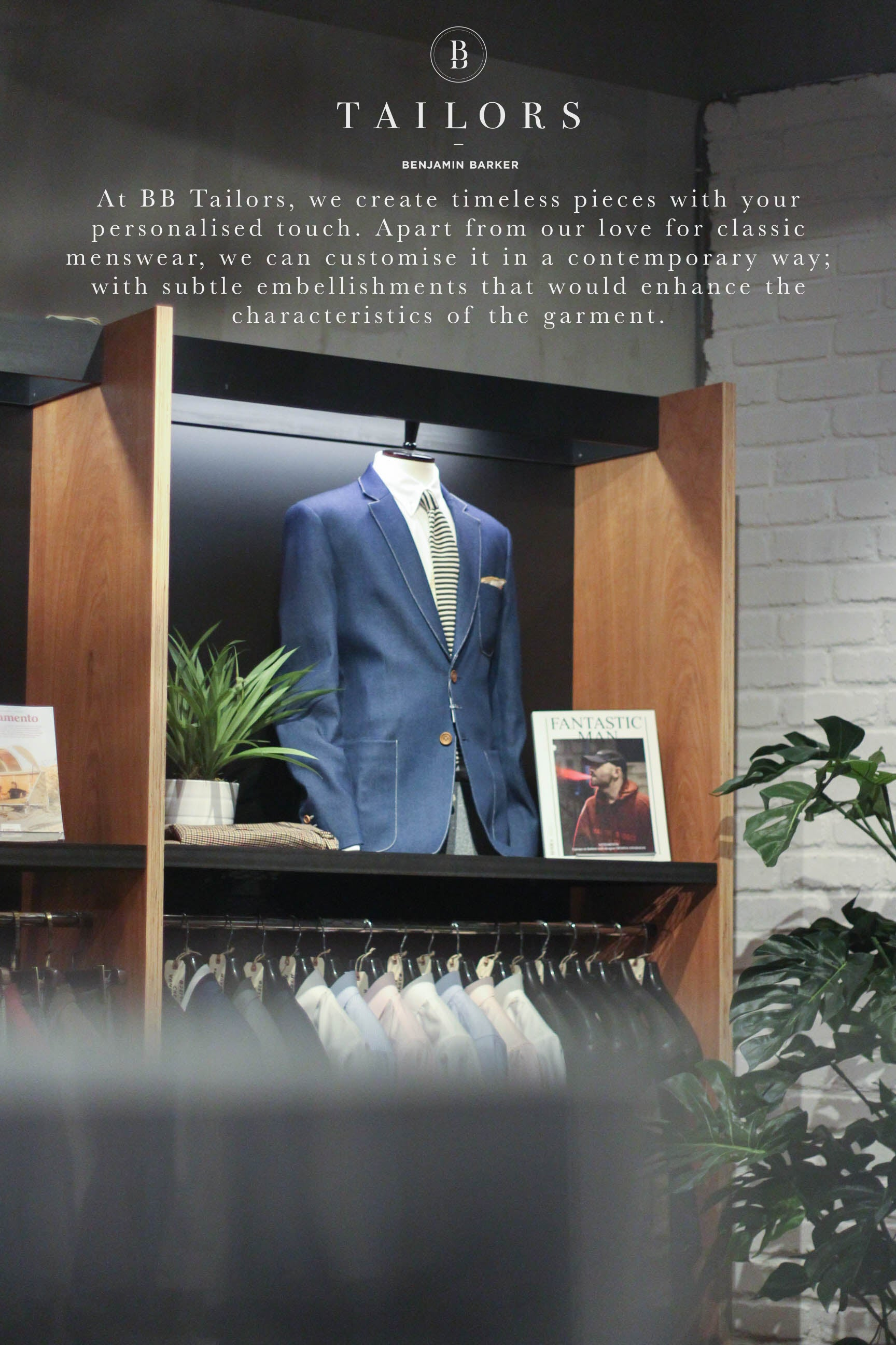 1d9ba249 Book An Appointment custom@benjaminbarker.com.au +65 83990125. BB Tailors  is located at B Store, The Cathay, Singapore, #01-22/23