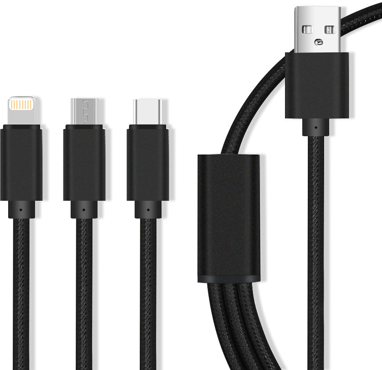3-in-1 USB Charging Cable for Type-C, Micro USB, Apple