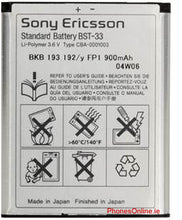 Load image into Gallery viewer, Sony Ericsson BST-33 Genuine Battery