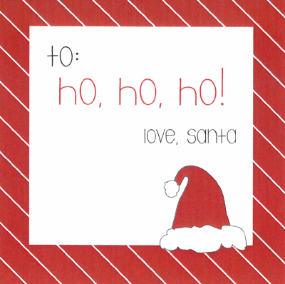 Santa Hat Holiday Gift Sticker