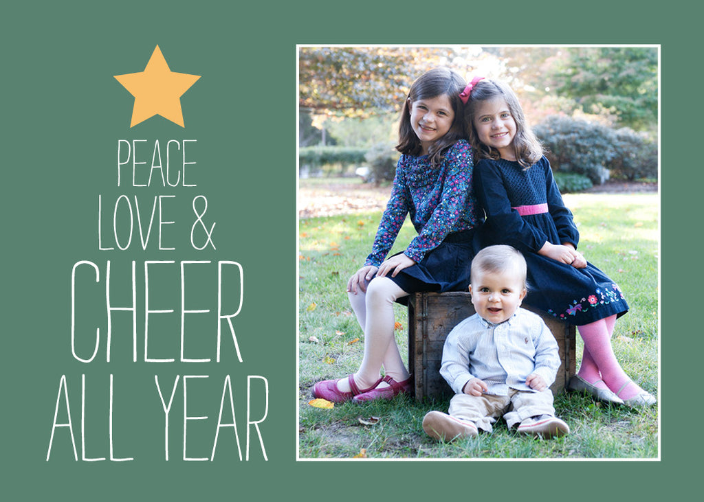 535 Peace Love and Cheer Tree Photo Holiday Card