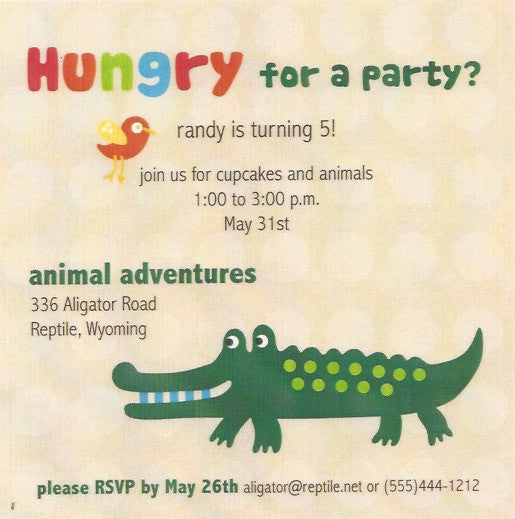 Alligator Kids Birthday Party Invitation