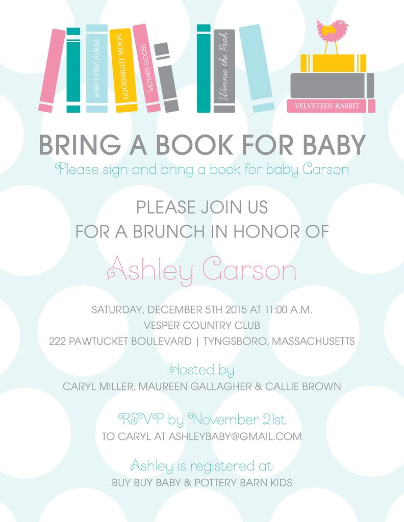 Book Baby Shower Invitation
