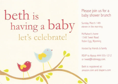 Birds on a Branch Baby Shower Invitation