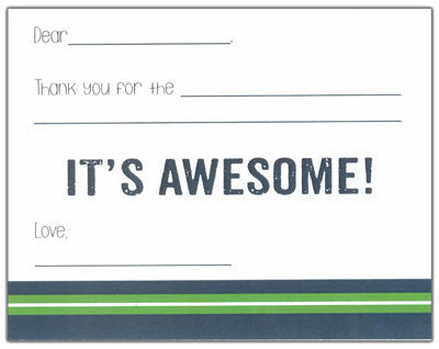 Navy and Green Finlay Kids Fill-in-the-blank Stationery