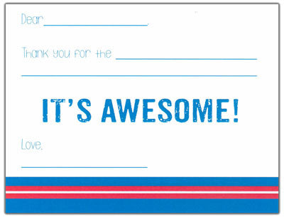 Blue and Red Finlay Fill-in-the-blank Stationery