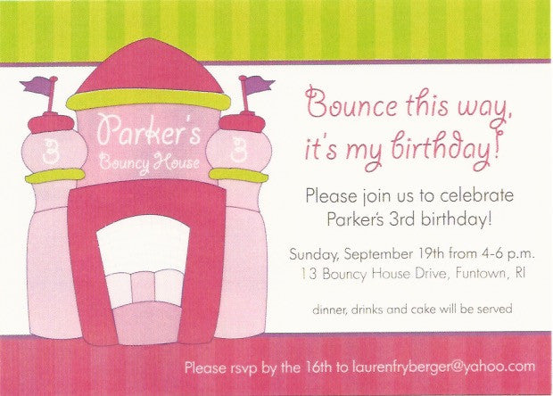 Bouncy House Kids Birthday Invitation
