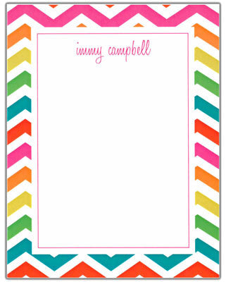 Chevron Multi Color Border StationeryNotepad RockPaperScissors