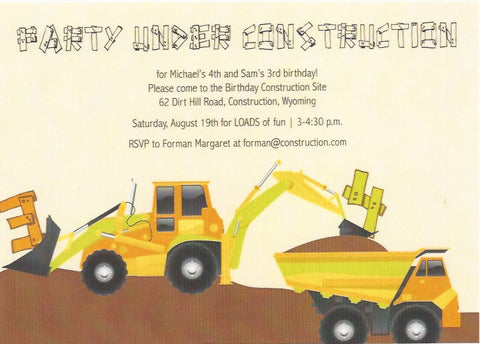 Construction Kids Birthday Invitation