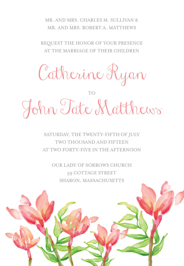 Watercolor Flower 2 Wedding Invitation