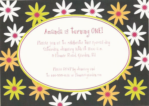 Daisy Flower Kids Birthday Invitation