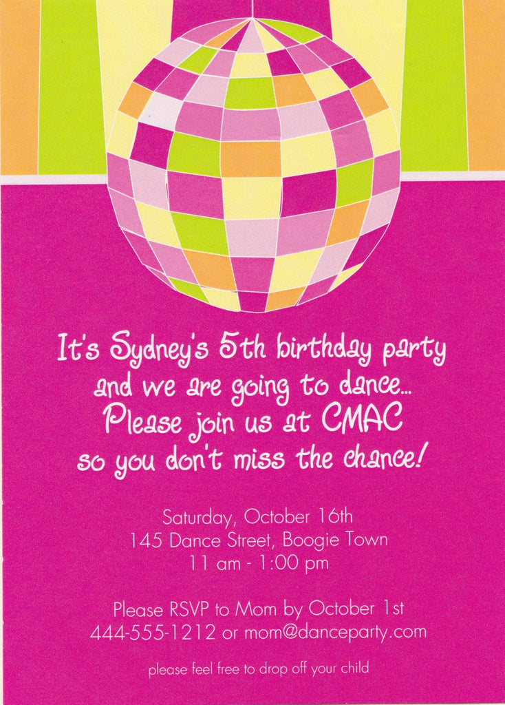 Disco Kids Birthday Party Invitation RockPaperScissorsNeedham - Disco birthday invitation templates free