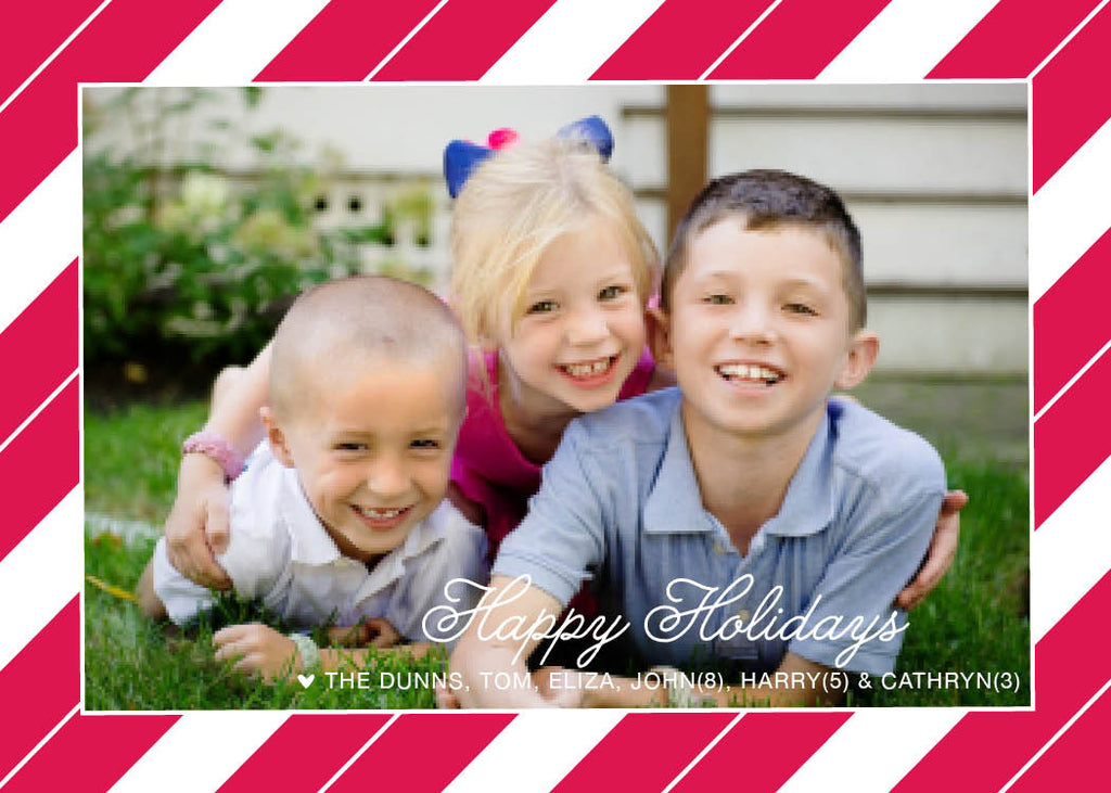963 Merry Christmas Candy Cane Photo Holiday Card