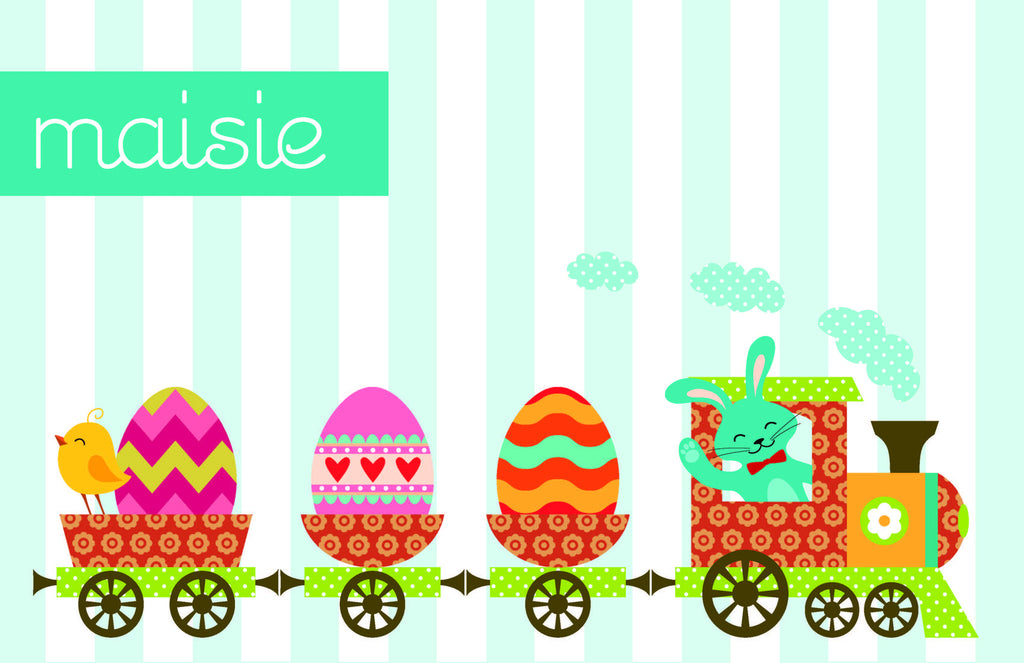 Easter Bunny Train Personalized Kids Placemats