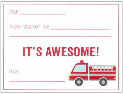 Fire Truck Fill-in-the-blank Stationery