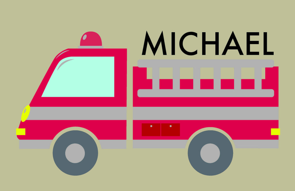 Firetrucks Personalized Kids Placemats