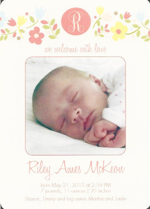 Sweet Flowers Birth Announcement