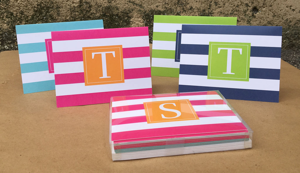 Fold-over Striped Stationery Set