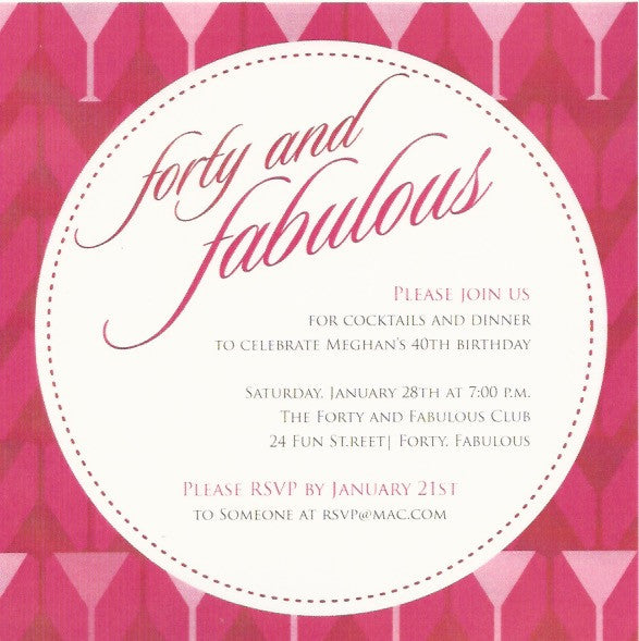Forty and Fabulous Adult Birthday Invitation