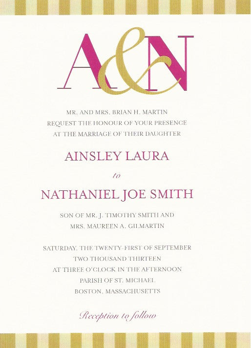 Two Toned Gold Wedding Invitation
