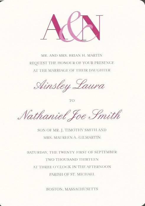 Initial Wedding Invitation