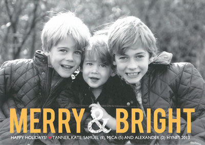 955 Gold Merry& Bright Holiday Card