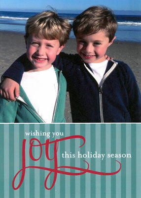 006 Green Stripe Joy Photo Holiday Card