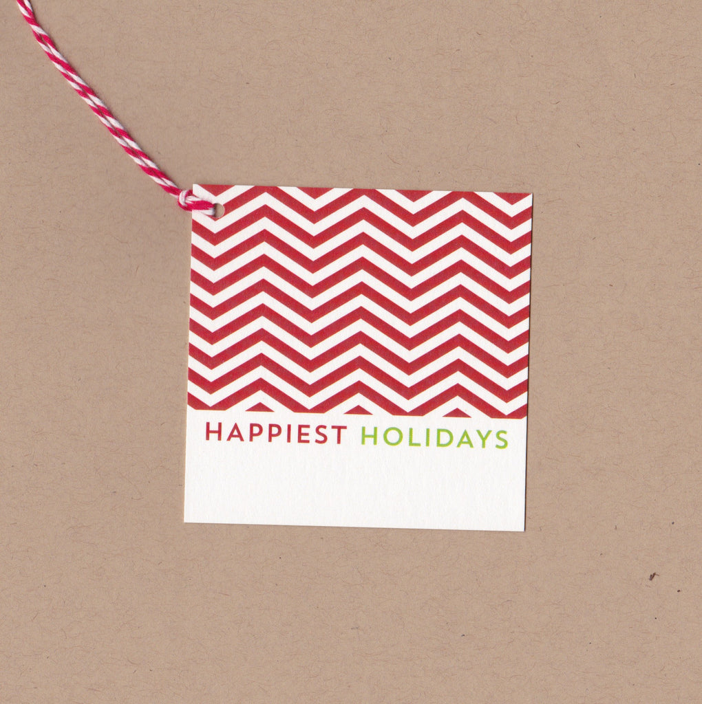 Happiest Holidays Chevron Say Anything Holiday Gift/Wine Tags