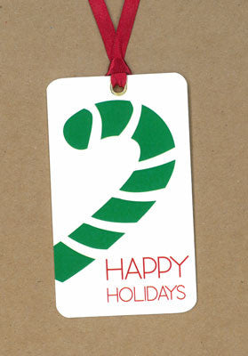 Candy Cane Green Happy Holidays Say Anything Holiday Gift/Wine Tags