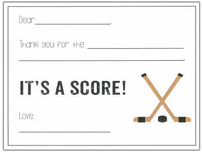 Hockey Fill-in-the-blank Stationery