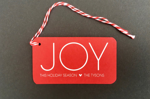 Joy Red Paper Mini Say Anything Holiday Gift/Wine Tags